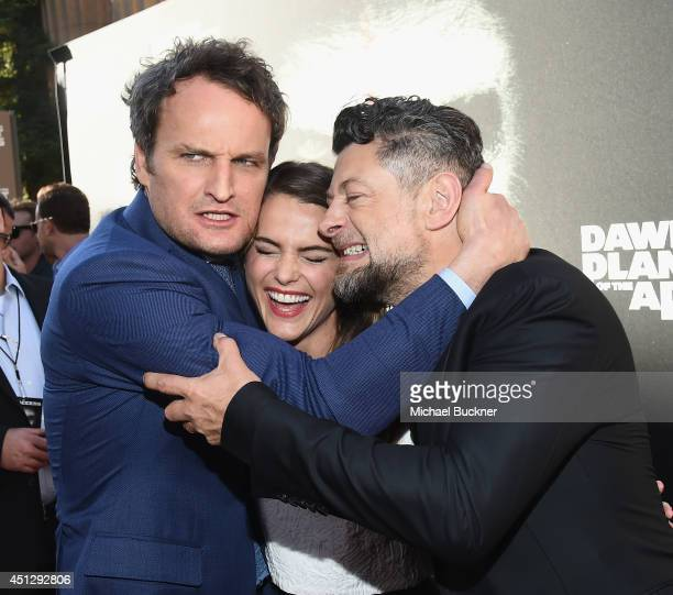 Actor Jason Clarke actress Keri Russell and actor Andy Serkis arrive at the premiere of 20th Century Fox's Dawn Of The Planet Of The Apes at Palace...
