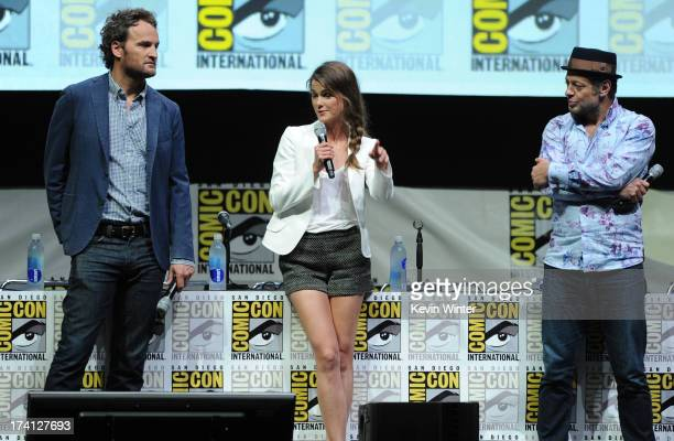 Actor Jason Clarke actress Keri Russell and actor Andy Serkis speak at the 20th Century Fox Dawn of the Planet of the Apes panel during ComicCon...