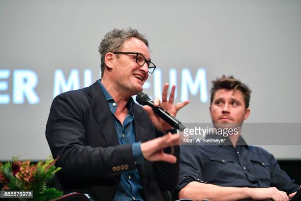 Actor Jason Clarke and Garrett Hedlund speak onstage during the Hammer Museum presents The Contenders 2017 Mudbound at Hammer Museum on December 4...