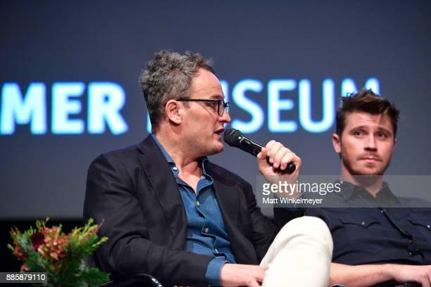 Actor Jason Clarke and Garrett Hedlund speak onstage during the Hammer Museum presents The Contenders 2017 'Mudbound' at Hammer Museum on December 4...