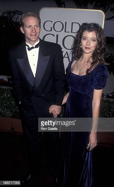 Actor Jason Connery and wife Mia Sara attend 53rd Annual Golden Globe Awards on January 21 1996 at the Beverly Hilton Hotel in Beverly Hills...
