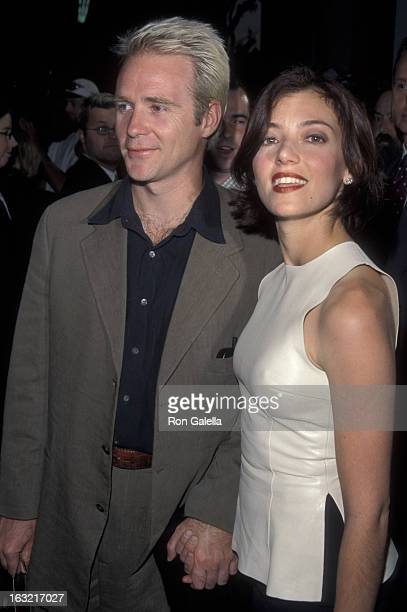 Actor Jason Connery and wife Mia Sara attend the world premiere of Entrapment on April 15 1999 a Mann Chinese Theater in Hollywood California