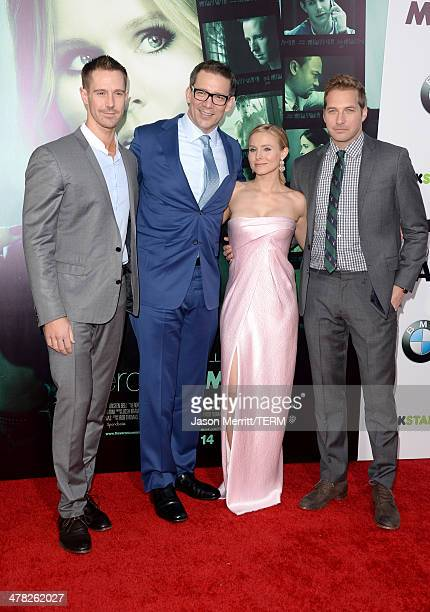 Actor Jason Dohring producer/writer/director Rob Thomas actors Kristen Bell and Ryan Hansen arrive at the Los Angeles premiere of 'Veronica Mars' at...