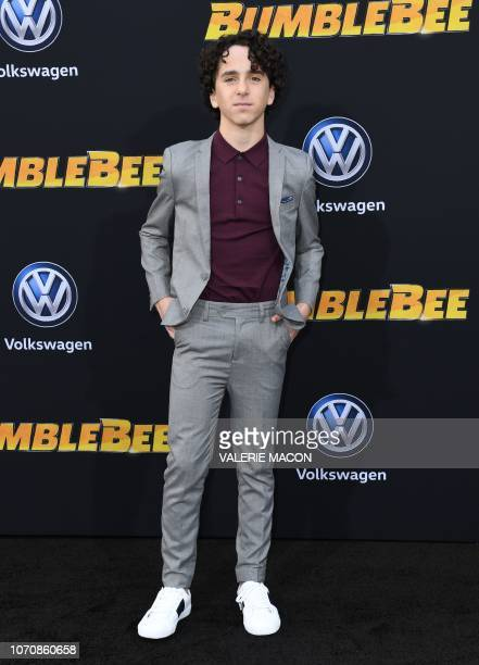"""Actor Jason Drucker attends the global premiere of """"Bumblebee"""" at the TCL Chinese theatre in Hollywood on December 9, 2018."""