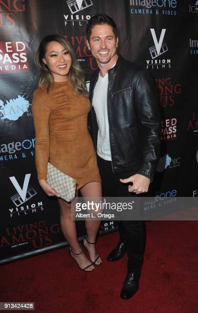 Actor Jason Faunt and Angela Lin arrive for the Premiere Of 'Living Among Us' held at Ahrya Fine Arts Theater on February 1 2018 in Beverly Hills...