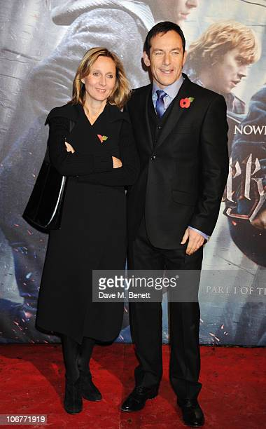 Actor Jason Isaacs and Emma Hewitt attend the World Premiere of Harry Potter And The Deathly Hallows: Part 1 at Odeon Leicester Square on November...