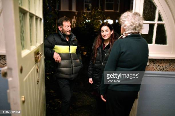 Actor, Jason Isaacs and Lib Dem MP, Luciana Berger out on the streets canvassing during a Liberal Democrat campaign event in Finchley on December 8,...