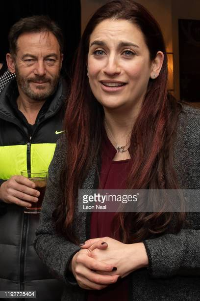 Actor, Jason Isaacs and Lib Dem MP, Luciana Berger speak to supporters during a Liberal Democrat campaign event at The Bald Faced Stag Pub on...