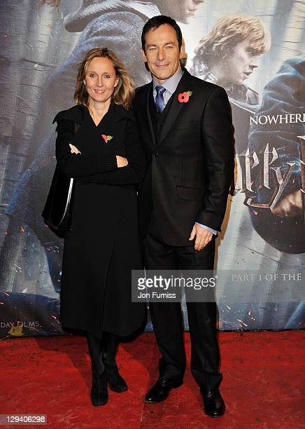 "Actor Jason Isaacs and wife Emma Hewitt attends the world premiere of ""Harry Potter and The Deathly Hallows"" at Odeon Leicester Square on November..."