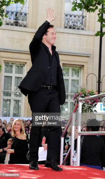 Actor Jason Isaacs arrives at the World Premiere of 'Harry Potter And The Deathly Hallows Part 2' in Trafalgar Square on July 7 2011 in London England