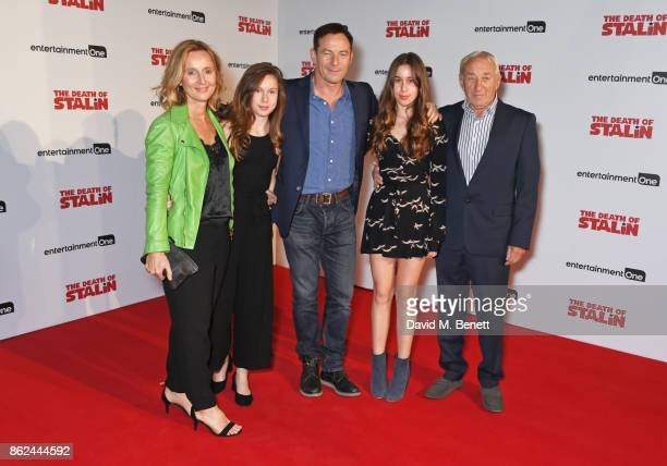 Actor Jason Isaacs poses with wife Emma Hewitt daughters Lily Isaacs and Ruby Isaacs and father Eric Isaacs at the UK Premiere of The Death Of Stalin...