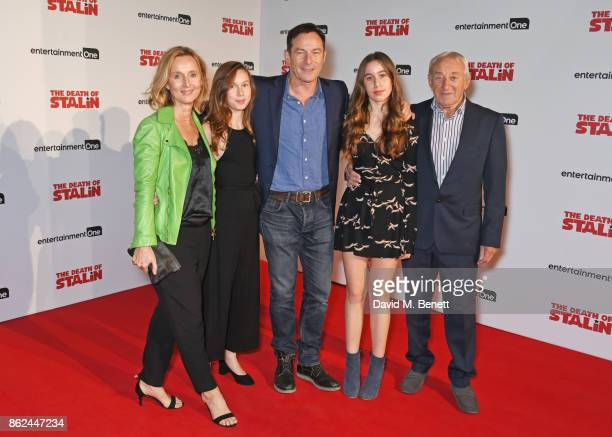 "Actor Jason Isaacs poses with wife Emma Hewitt, daughters Lily Isaacs and Ruby Isaacs and father Eric Isaacs at the UK Premiere of ""The Death Of..."