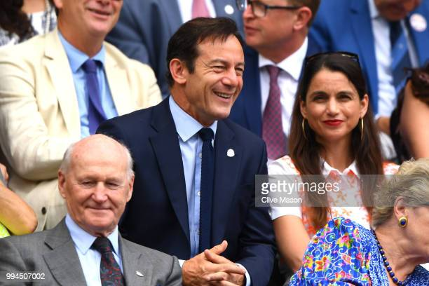 Actor Jason Issacs attends day seven of the Wimbledon Lawn Tennis Championships at All England Lawn Tennis and Croquet Club on July 9 2018 in London...
