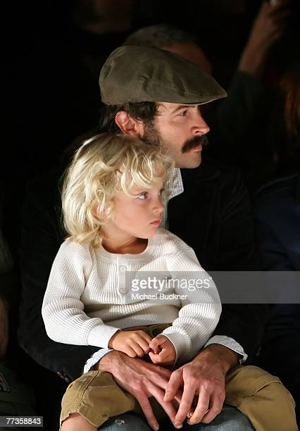 Actor Jason Lee and son Pilot Inspektor Riesgraf Lee in the front row at the Whitley Kros Spring 2008 fashion show during Mercedes Benz Fashion Week...