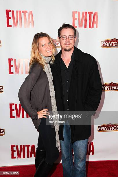 Actor Jason London and his wife Sofia Karstens attend the 'Evita' Los Angeles opening night at the Pantages Theatre on October 24 2013 in Hollywood...