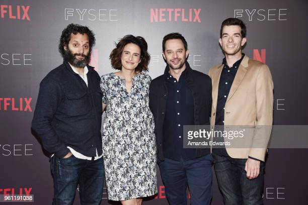 Actor Jason Mantzoukas writer Jessi Klein and actors Nick Kroll and John Mulaney arrive at the #NETFLIXFYSEE Animation Panel featuring 'Big Mouth'...