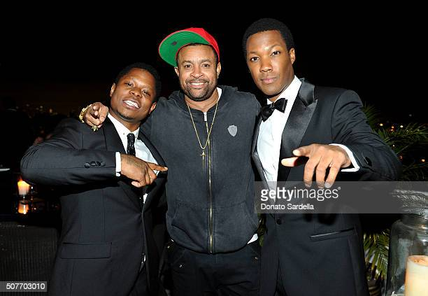 Actor Jason Mitchell singer Shaggy and actor Corey Hawkins attend A Toast To Regina King Hosted By Revolt Entertainment SnapStyle at Chateau Marmont...