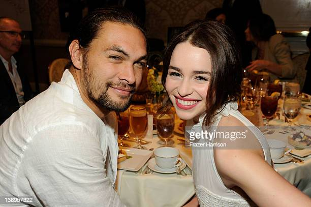 Actor Jason Momoa and actress Emilia Clarke attend the 12th Annual AFI Awards held at the Four Seasons Hotel Los Angeles at Beverly Hills on January...