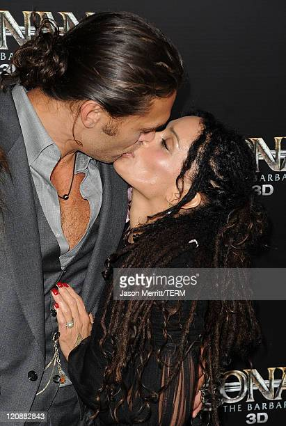 Actor Jason Momoa and actress Lisa Bonet attend the world premiere of Conan The Barbarian held at Regal Cinemas LA Live on August 11 2011 in Los...