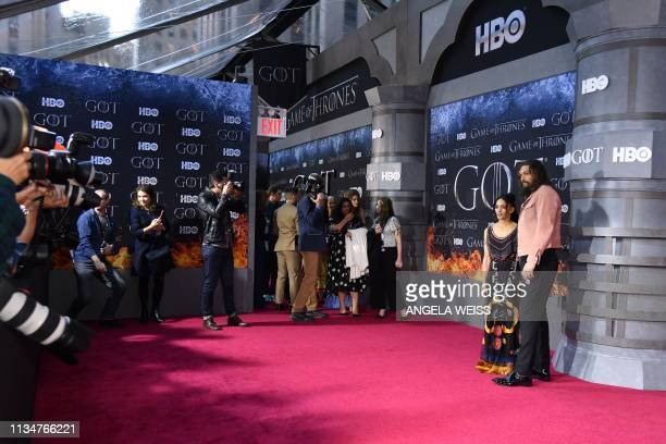 US actor Jason Momoa and his wife actress Lisa Bonet arrive for the Game of Thrones eighth and final season premiere at Radio City Music Hall on...