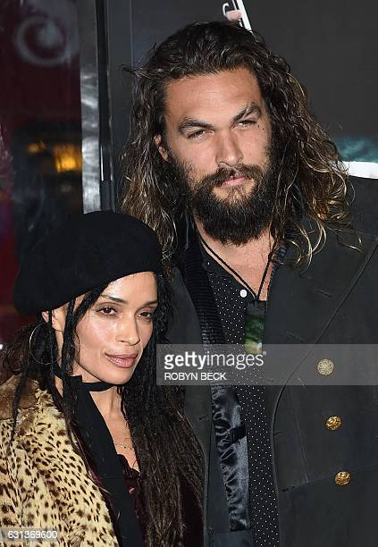 Actor Jason Momoa and Lilakoi Moon arrive for the world premiere of Warner Bros Live By Night January 9 2017 at the TCL Chinese Theater in Hollywood...