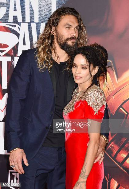 Actor Jason Momoa and wife/actress Lisa Bonet arrive at the premiere of Warner Bros Pictures' 'Justice League' at the Dolby Theatre on November 13...