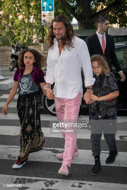 Actor Jason Momoa arrives at the 'Laperouse' restaurant on June 28, 2019 in Paris, France.