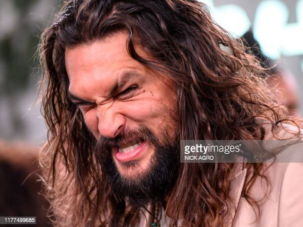 """Actor Jason Momoa arrives for Apple TV+ world premiere of """"SEE"""" at the Fox Regency Village Theater in Los Angeles on October 21, 2019."""