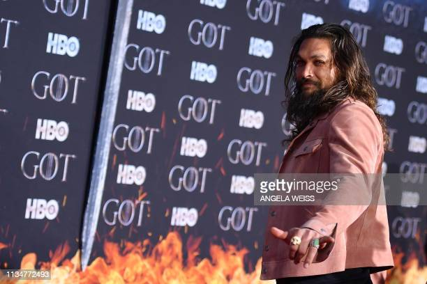 US actor Jason Momoa arrives for the Game of Thrones eighth and final season premiere at Radio City Music Hall on April 3 2019 in New York city
