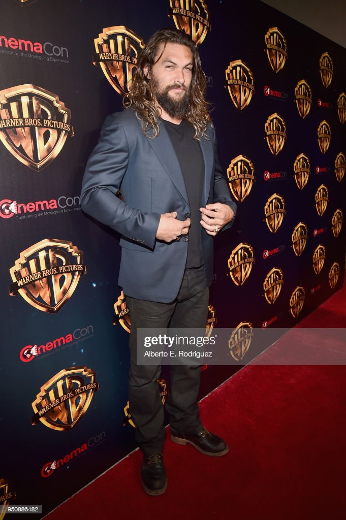 "Actor Jason Momoa attends CinemaCon 2018 Warner Bros. Pictures Invites You to ""The Big Picture"", an Exclusive Presentation of our Upcoming Slate at The Colosseum at Caesars Palace during CinemaCon, the official convention of the National Association of Theatre Owners, on April 24, 2018 in Las Vegas, Nevada."