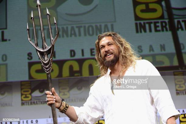 Actor Jason Momoa attends the Warner Bros Pictures Justice League Presentation during ComicCon International 2017 at San Diego Convention Center on...