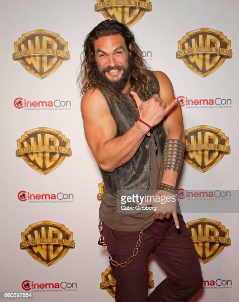 Actor Jason Momoa attends the Warner Bros Pictures presentation during CinemaCon at The Colosseum at Caesars Palace on March 29 2017 in Las Vegas...