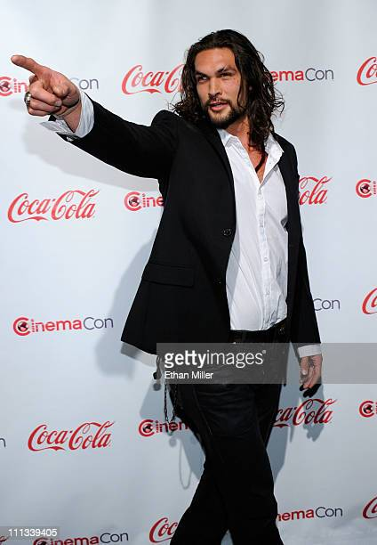 Actor Jason Momoa recipient of the Male Rising Star of 2011 award arrives at the CinemaCon awards ceremony at the Pure Nightclub at Caesars Palace...