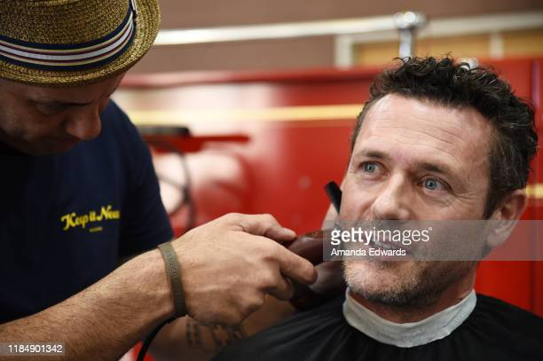 Actor Jason O'Mara and barber Michael DeBroeck attend the MOVEMBER Kickoff Event with Tarek El Moussa and Jason O'Mara at the Culver City Fire...