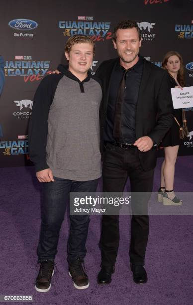 Actor Jason O'Mara and son David O'Mara arrive at the Premiere Of Disney And Marvel's 'Guardians Of The Galaxy Vol 2' at Dolby Theatre on April 19...