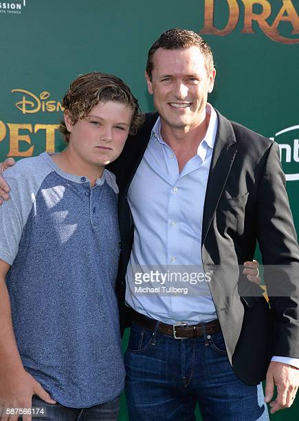 Actor Jason O'Mara and son David O'Mara attend the premiere of Disney's 'Pete's Dragon' at the El Capitan Theatre on August 8 2016 in Hollywood...