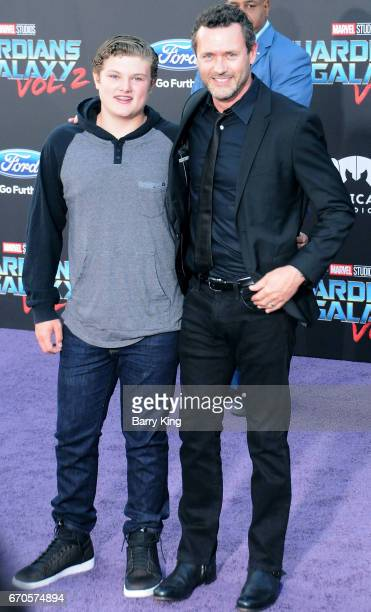 Actor Jason O'Mara and son David O'Mara attend world premiere of Disney and Marvel's' 'Guardians Of The Galaxy 2' at Dolby Theatre on April 19 2017...