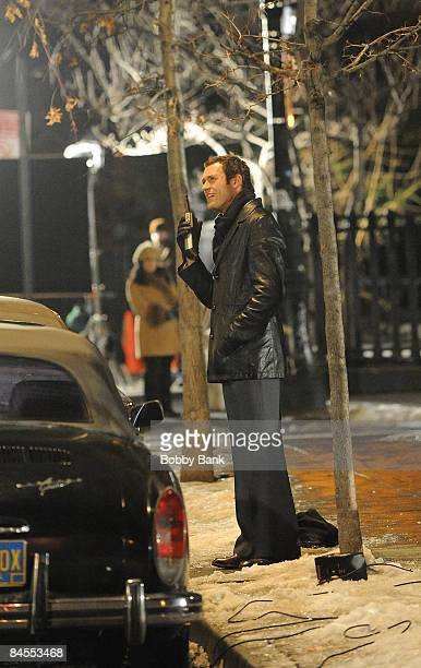 "Actor Jason O'Mara on location for ""Life on Mars"" on the streets of Manhattan on January 29, 2009 in New York City."