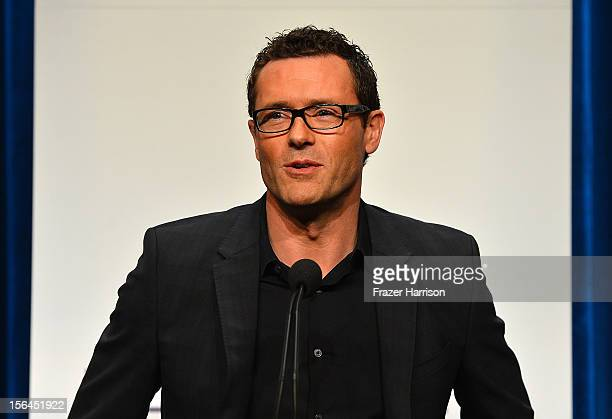 Actor Jason O'Mara speaks to the audience at the People's Choice Awards 2013 Nominations Press Conference at The Paley Center for Media on November...
