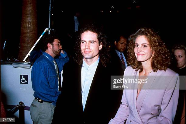 Actor Jason Patric and actress Julia Roberts arrive at the premiere of 'Rush' in Los Angeles CA December 18 1991