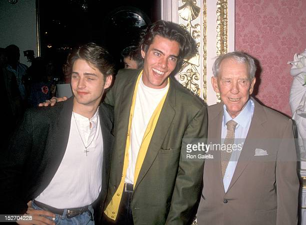 Actor Jason Priestley Actor Dana Ashbrook and Actor Burgess Meredith attend Helen Hayes' 90th Birthday Celebration on October 22 1990 at The Plaza...