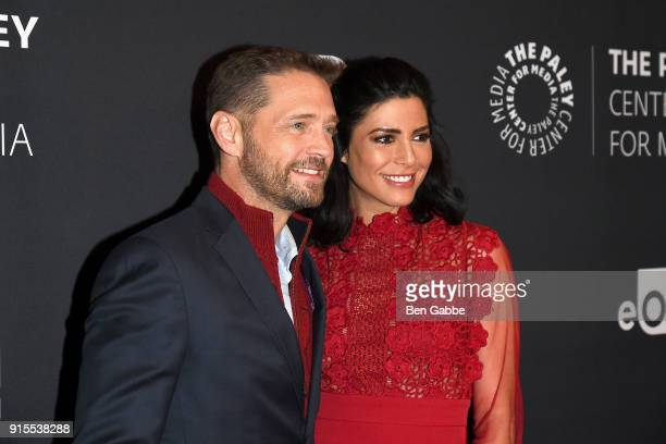 Actor Jason Priestley and actress Cindy Sampson attend the Private Eyes Series Premiere at The Paley Center for Media on February 7 2018 in New York...