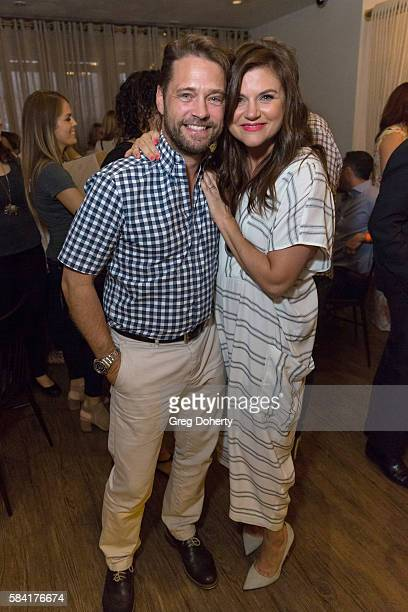 Actor Jason Priestley and Actress Tiffani Thiessen attend the Raising The Bar To End Parkinson's after party at Laurel Point on July 27 2016 in...
