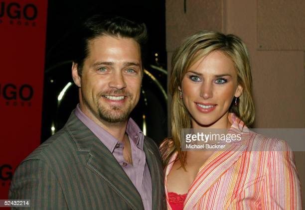 Actor Jason Priestley and fiance Naomi Lowde arrive at the Hugo Boss Fall/Winter 2005 Collection Show at the Beverly Hills Hotel on March 15 2005 in...