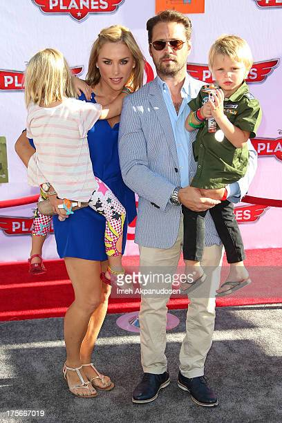 Actor Jason Priestley and Naomi LowdePriestley attend the premiere of Disney's 'Planes' at the El Capitan Theatre on August 5 2013 in Hollywood...