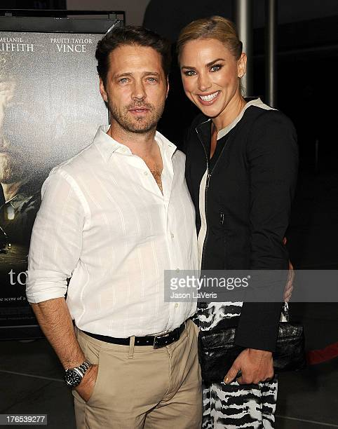 Actor Jason Priestley and wife Naomi LowdePriestley attend the premiere of Dark Tourist at ArcLight Hollywood on August 14 2013 in Hollywood...