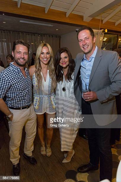 Actor Jason Priestley Naomi LowdePriestley Actress Tiffani Thiessen and Brady Smith attend the Raising The Bar To End Parkinson's after party at...