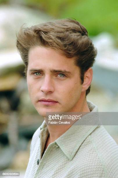 Actor Jason Priestley wearing a polo shirt on the set of the movie Life and Death on Long Island directed by Richard Kwietniowski This movie based on...