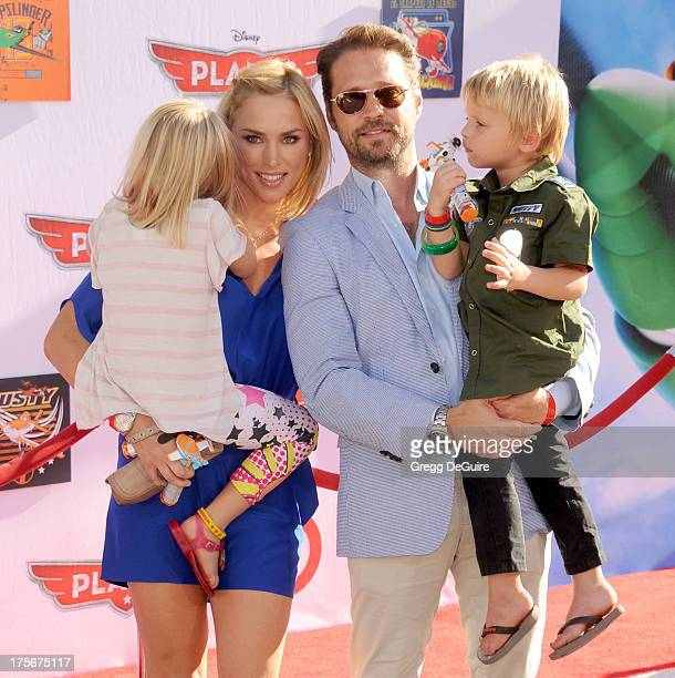 Actor Jason Priestley wife Naomi Lowde Priestley and children Ava Veronica Priestley and Dashiell Orson Priestley arrive at the Los Angeles premiere...