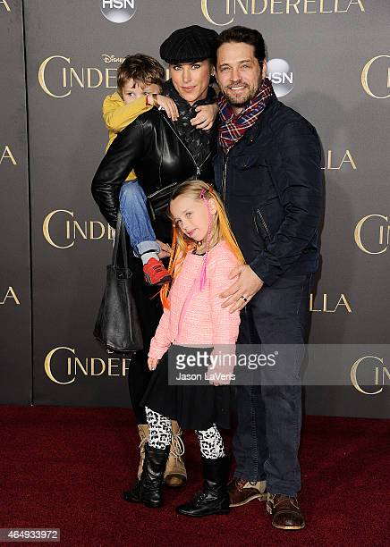 Actor Jason Priestley wife Naomi LowdePriestley and children Dashiell Orson Priestley and Ava Veronica Priestley attend the premiere of Cinderella at...